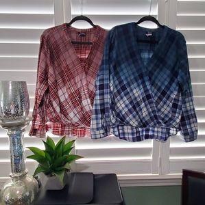 2 plaid type light weight long sleeve a.n.a shirt